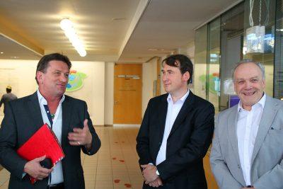 Minister Manne Lucha, Dr. Ulrich Geyer und MdL Martin Grath